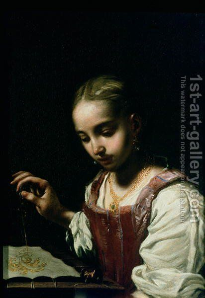 A Girl Sewing by Antonio Amorosi - Reproduction Oil Painting
