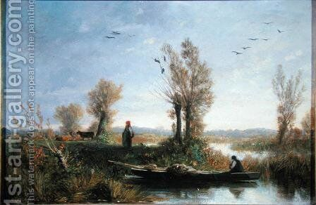 The Banks of a Canal by Auguste-Paul-Charles Anastasi - Reproduction Oil Painting