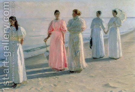 Promenade on the Beach by Michael Peter Ancher - Reproduction Oil Painting