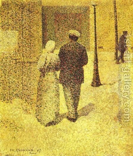 A Couple in the Street, 1887 by Charles Angrand - Reproduction Oil Painting