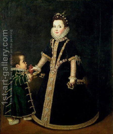 Girl with a dwarf, thought to be a portrait of Margarita of Savoy, daughter of the Duke and Duchess of Savoy, c.1595 by Sofonisba Anguissola - Reproduction Oil Painting