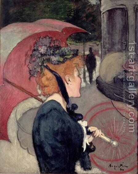 Woman with an umbrella, or The Walk, 1891 by Louis Anquetin - Reproduction Oil Painting