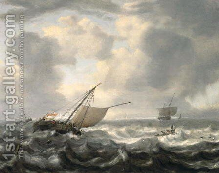 Ships on a Choppy Sea by Hendrik van Anthonissen - Reproduction Oil Painting