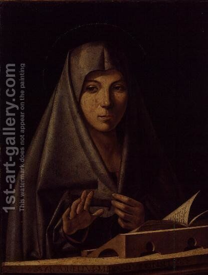 The Virgin Mary Praying by Antonello da Messina Messina - Reproduction Oil Painting
