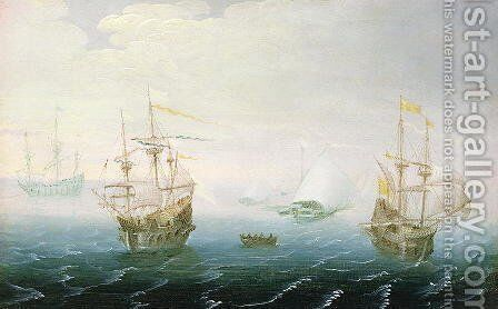 Shipping on Stormy Seas by Aert van Antum - Reproduction Oil Painting