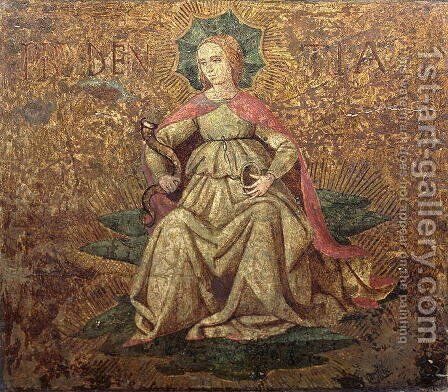 Allegory of Prudence, end panel of a cassone  c.1460-65 by Apollonio di Giovanni - Reproduction Oil Painting