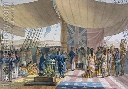 The Sandwich Islands- The Christening of the King's Prime Minister on Board the 'Uranie', from 'Voyage Autour du Monde sur les Corvettes de L'Uranie' 1817-20 by Jacques Etienne Victor Arago - Reproduction Oil Painting