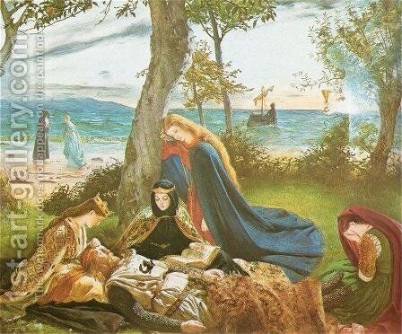 The Death of Arthur  c.1861 by James Archer - Reproduction Oil Painting