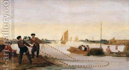 Two Fishermen Pulling in their Nets by Arent Arentsz - Reproduction Oil Painting