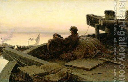 On The River Volga 1889 by Abram Efimovich Arkhipov - Reproduction Oil Painting