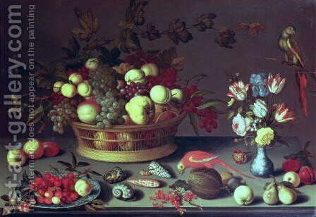 A basket of Grapes and other fruit by Balthasar Van Der Ast - Reproduction Oil Painting
