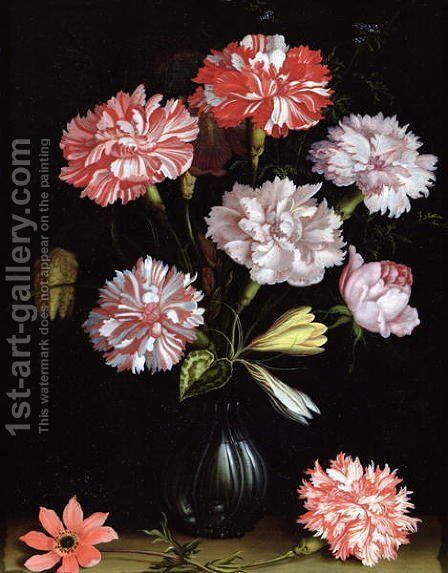 Floral Study- Carnations in a Vase by Balthasar Van Der Ast - Reproduction Oil Painting