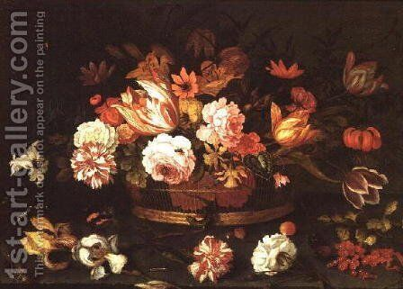 Roses, Tulips in a basket by Balthasar Van Der Ast - Reproduction Oil Painting