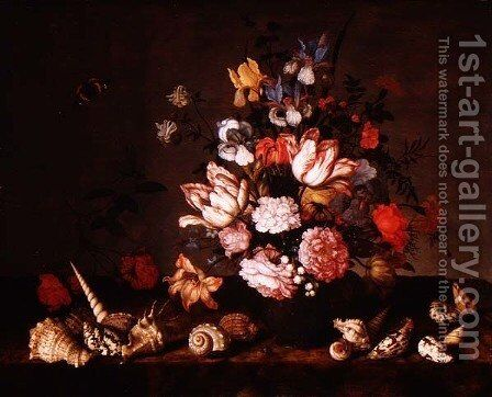 Still life of a vase of flowers with shells by Balthasar Van Der Ast - Reproduction Oil Painting