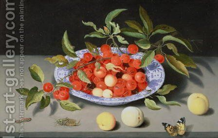 Still Life of Cherries and Peaches by Balthasar Van Der Ast - Reproduction Oil Painting