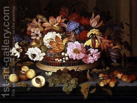 Still Life of Fruit and a Basket of Flowers, 1623 by Balthasar Van Der Ast - Reproduction Oil Painting