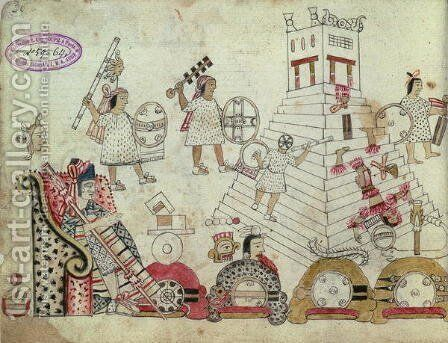Prisoners of War Sacrificed to the Sun God, from an Aztec Codex by Aztec Aztec - Reproduction Oil Painting