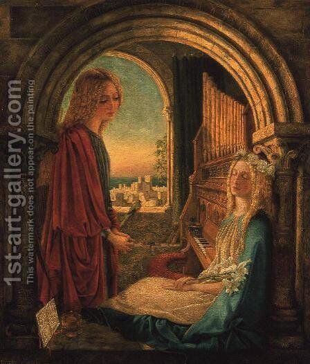 Annunciation, 1859 by Charlotte E Babb - Reproduction Oil Painting