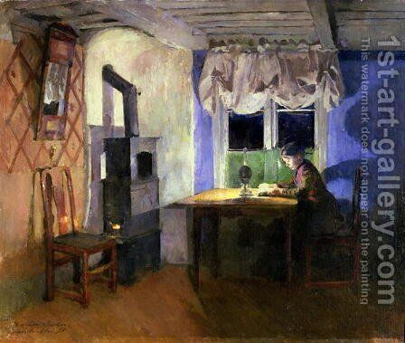By Lamplight 1890 by Harriet Backer - Reproduction Oil Painting