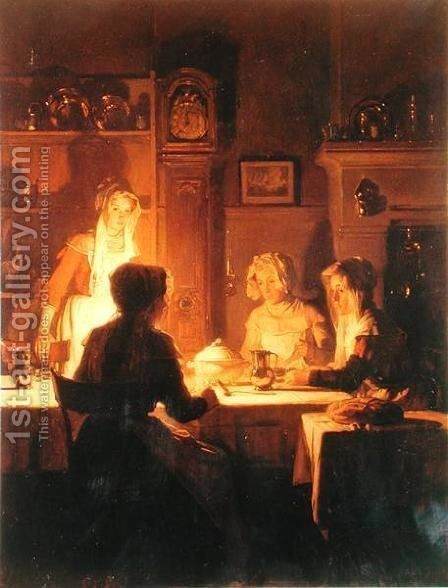 The Evening Meal  c.1900 by Claude Joseph Bail - Reproduction Oil Painting
