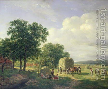 Wooded landscape with haymakers by Hendrikus van den Sande Bakhuyzen - Reproduction Oil Painting
