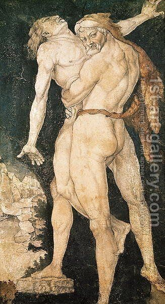 Hercules and Antaeus, c.1530 by Hans Baldung  Grien - Reproduction Oil Painting