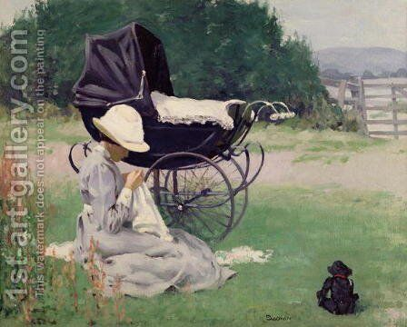 Sewing in the Sun 1913 by Brake Baldwin - Reproduction Oil Painting