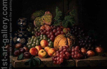 Still Life with Fruit and a Blue Vase by Charles Thomas Bale - Reproduction Oil Painting