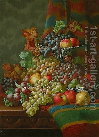 Still Life with Grapes on a Ledge by Charles Thomas Bale - Reproduction Oil Painting