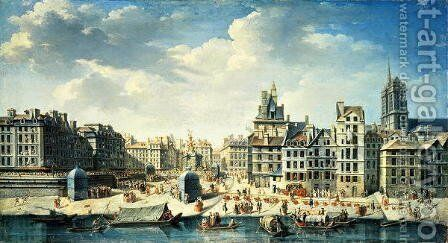 A square on the banks of the Seine in Paris by J. Babtiste - Reproduction Oil Painting
