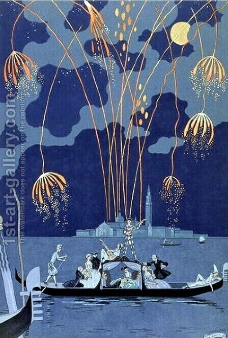 Fireworks in Venice, illustration for 'Fetes Galantes' by Georges Barbier - Reproduction Oil Painting