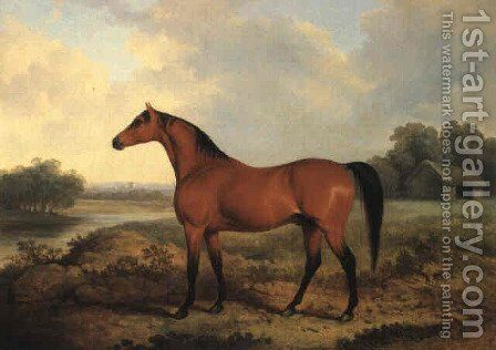 A bay stallion in a river landscape 1827 by James Barenger - Reproduction Oil Painting