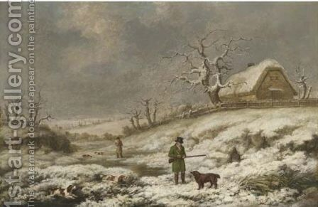 Snipe shooting in a winter landscape 1821 by James Barenger - Reproduction Oil Painting