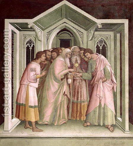 Judas Receiving Payment for his Betrayal, from a series of Scenes of the New Testament by Barna Da Siena - Reproduction Oil Painting