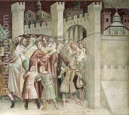 The Crowd at the Entrance to Jerusalem, from a series of Scenes of the New Testament by Barna Da Siena - Reproduction Oil Painting