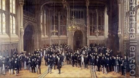Members' Lobby, Houses of Parliament 1872-73 by Henry Barraud - Reproduction Oil Painting