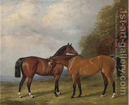 Two bay hunters in an extensive landscape 1860 by Henry Barraud - Reproduction Oil Painting