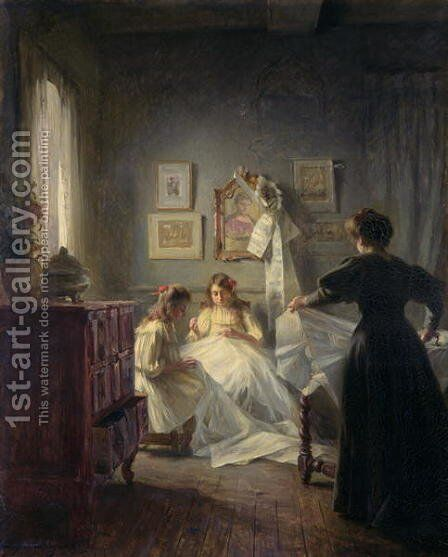 Sewing 1906 by Marius Bartholoty - Reproduction Oil Painting