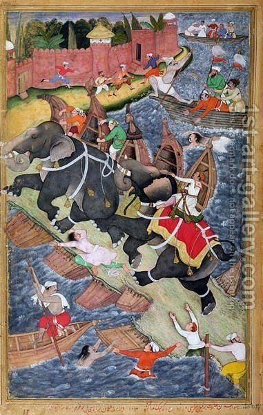 Akbar tames the Savage Elephant, Hawa'i, outside the Red Fort at Agra, miniature from the 'Akbarnama' of Abul Fazl, c.1590 by Basawan and Chatai - Reproduction Oil Painting