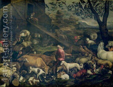 Animals Entering the Ark by Jacopo Bassano (Jacopo da Ponte) - Reproduction Oil Painting