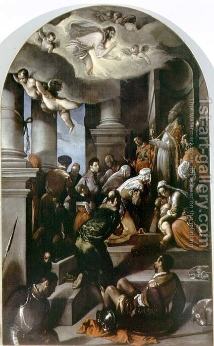 St. Eleutherius Blesses the Devout by Jacopo Bassano (Jacopo da Ponte) - Reproduction Oil Painting