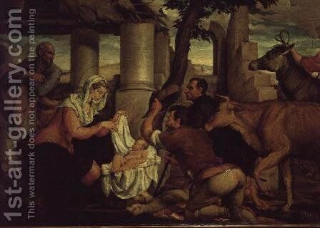 The Adoration of the Shepherds by Jacopo Bassano (Jacopo da Ponte) - Reproduction Oil Painting