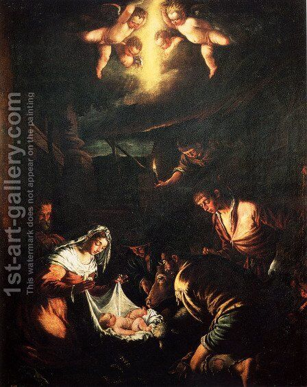 The Adoration of the Shepherds (2) by Jacopo Bassano (Jacopo da Ponte) - Reproduction Oil Painting