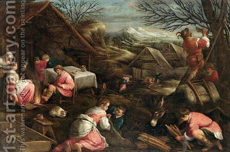 Winter by Jacopo Bassano (Jacopo da Ponte) - Reproduction Oil Painting