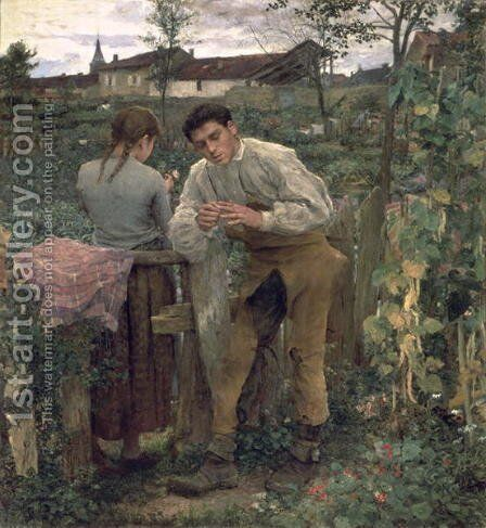 Rural Love 1882 by Jules Bastien-Lepage - Reproduction Oil Painting