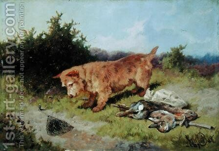 Terrier Watching a Rabbit Trap 1887 by Arthur Batt - Reproduction Oil Painting