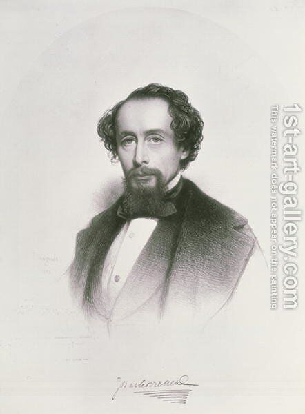 Portrait of Charles Dickens by Charles Baugniet - Reproduction Oil Painting