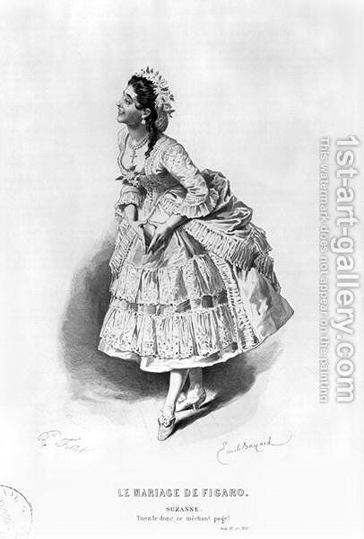 Suzanne, illustration from Act II Scene 17 of 'The Marriage of Figaro' by Emile Antoine Bayard - Reproduction Oil Painting