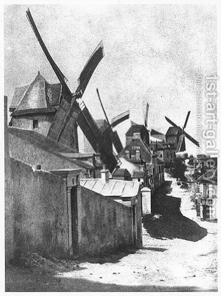 Windmills at Montmartre, c. 1870 by Hippolyte Bayard - Reproduction Oil Painting
