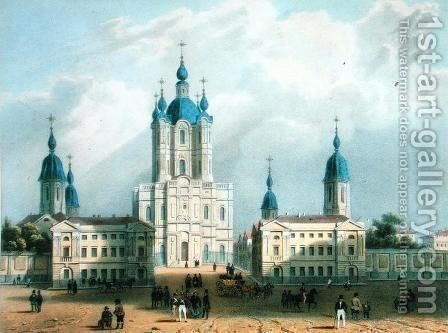 The Smolny Cloister in St. Petersburg by Adolphe Jean-Baptiste Bayot - Reproduction Oil Painting